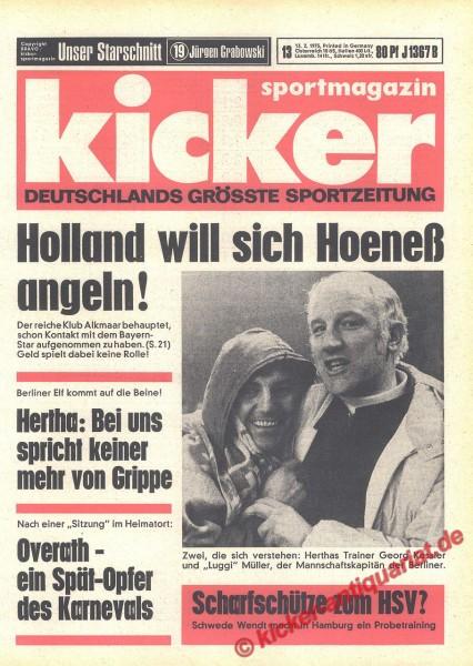Kicker Sportmagazin Nr. 13, 13.2.1975 bis 19.2.1975