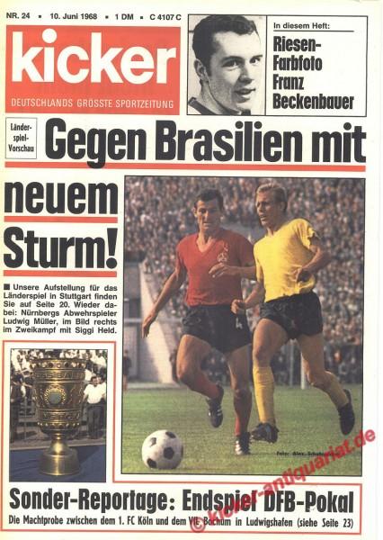 Kicker Sportmagazin Nr. 24, 10.6.1968 bis 16.6.1968