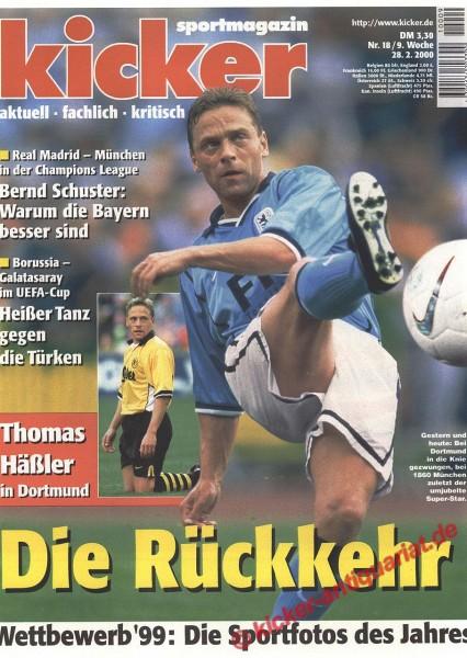 Kicker Sportmagazin Nr. 18, 28.2.2000 bis 5.3.2000
