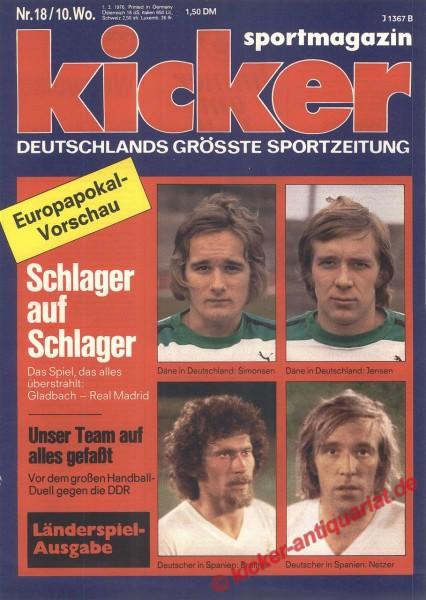 Kicker Sportmagazin Nr. 18, 1.3.1976 bis 7.3.1976