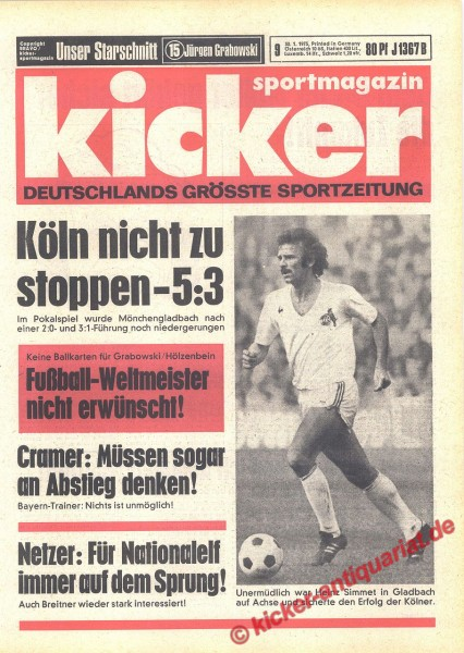 Kicker Sportmagazin Nr. 9, 30.1.1975 bis 5.2.1975