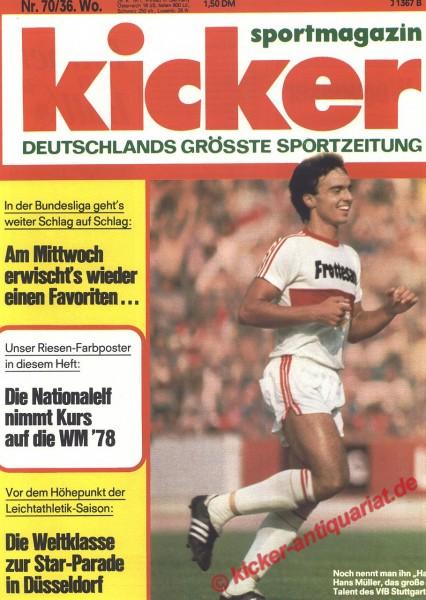 Kicker Sportmagazin Nr. 70, 29.8.1977 bis 4.9.1977