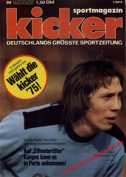 Kicker Sportmagazin Nr. 98, 8.12.1975 bis 14.12.1975