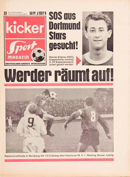 Kicker Sportmagazin Nr. 33, 24.4.1969 bis 30.4.1969