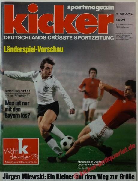 Kicker Sportmagazin Nr. 102, 18.12.1978 bis 24.12.1978