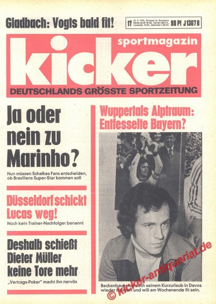 Kicker Sportmagazin Nr. 17, 27.2.1975 bis 5.3.1975
