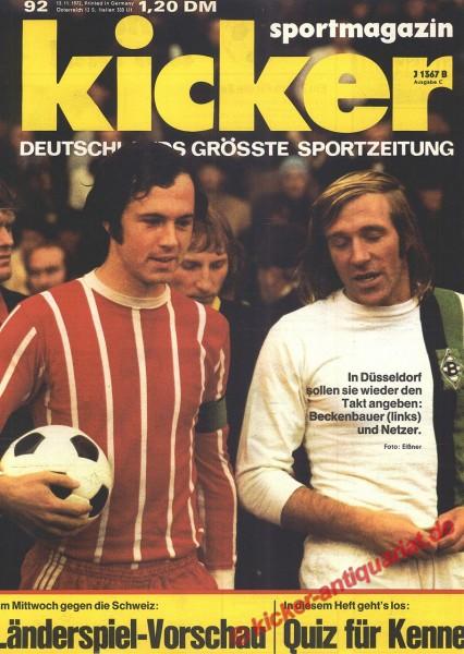 Kicker Sportmagazin Nr. 92, 13.11.1972 bis 19.11.1972