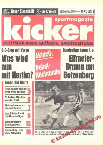 Kicker Sportmagazin Nr. 101, 16.12.1971 bis 22.12.1971