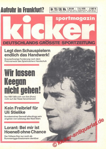 Kicker Sportmagazin Nr. 73, 7.9.1978 bis 13.9.1978