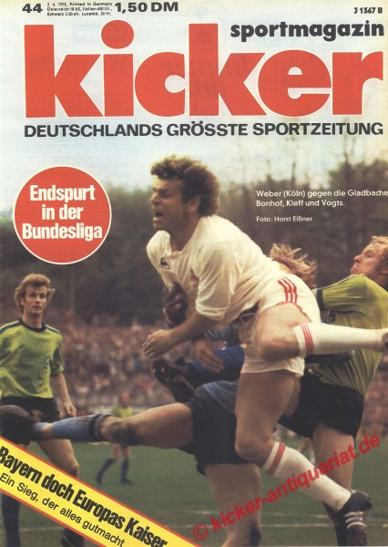 Kicker Sportmagazin Nr. 44, 2.6.1975 bis 8.6.1975
