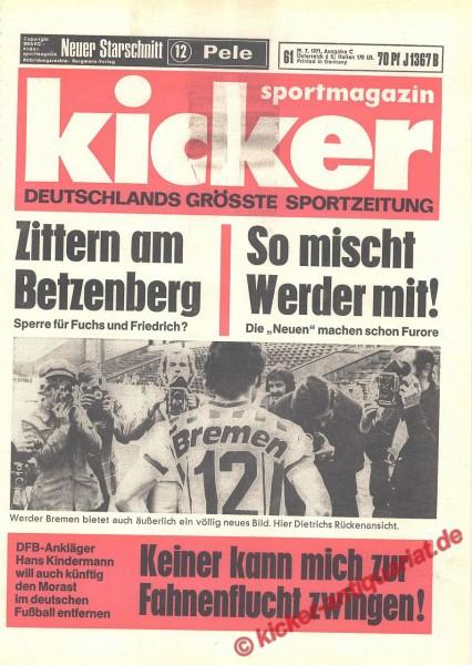 Kicker Sportmagazin Nr. 61, 29.7.1971 bis 4.8.1971