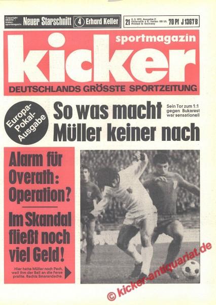 Kicker Sportmagazin Nr. 21, 9.3.1972 bis 15.3.1972