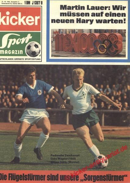 Kicker Sportmagazin Nr. 85, 21.10.1968 bis 27.10.1968