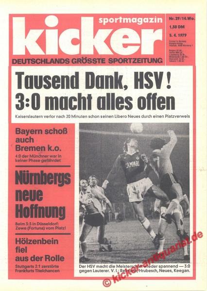 Kicker Sportmagazin Nr. 29, 5.4.1979 bis 11.4.1979