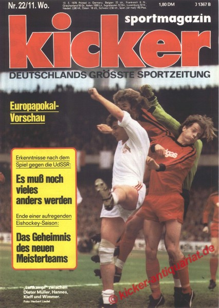 Kicker Sportmagazin Nr. 22, 13.3.1978 bis 19.3.1978