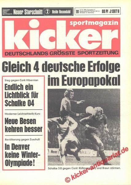 Kicker Sportmagazin Nr. 91, 9.11.1972 bis 15.11.1972