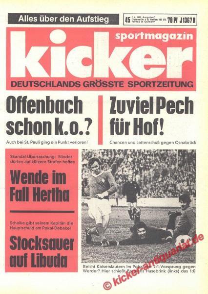 Kicker Sportmagazin Nr. 45, 1.6.1972 bis 7.6.1972