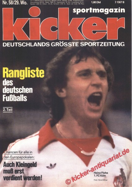 Kicker Sportmagazin Nr. 58, 17.7.1978 bis 23.7.1978