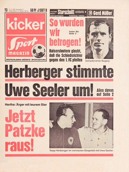 Kicker Sportmagazin Nr. 73, 11.9.1969 bis 17.9.1969