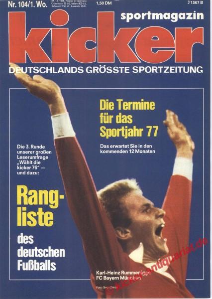 Kicker Sportmagazin Nr. 104, 27.12.1976 bis 2.1.1977