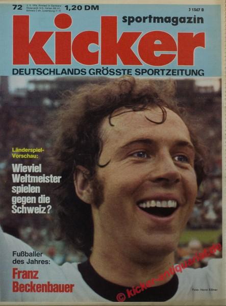 Kicker Sportmagazin Nr. 72, 2.9.1974 bis 8.9.1974