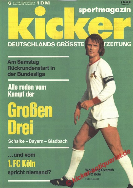 Kicker Sportmagazin Nr. 6, 17.1.1972 bis 23.1.1972