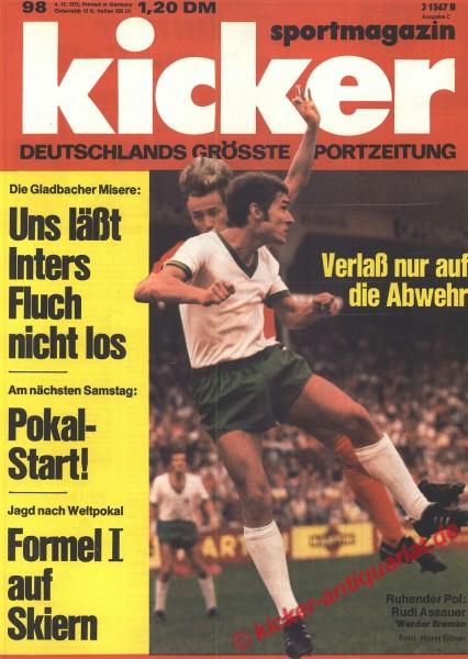 Kicker Sportmagazin Nr. 98, 4.12.1972 bis 10.12.1972