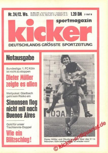 Kicker Sportmagazin Nr. 24, 20.3.1978 bis 26.3.1978