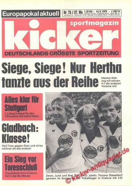 Kicker Sportmagazin Nr. 75, 14.9.1978 bis 20.9.1978