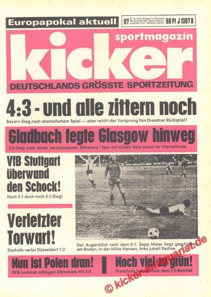 Kicker Sportmagazin Nr. 87, 25.10.1973 bis 31.10.1973