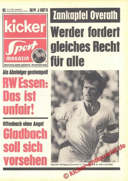 Kicker Sportmagazin Nr. 65, 13.8.1970 bis 19.8.1970