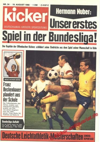 Kicker Sportmagazin Nr. 34, 19.8.1968 bis 25.8.1968