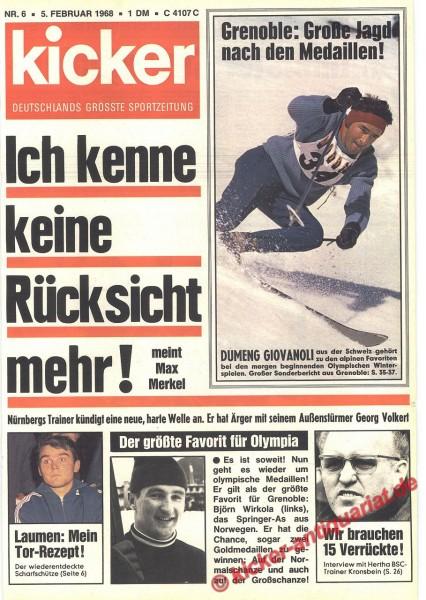 Kicker Sportmagazin Nr. 6, 5.2.1968 bis 11.2.1968