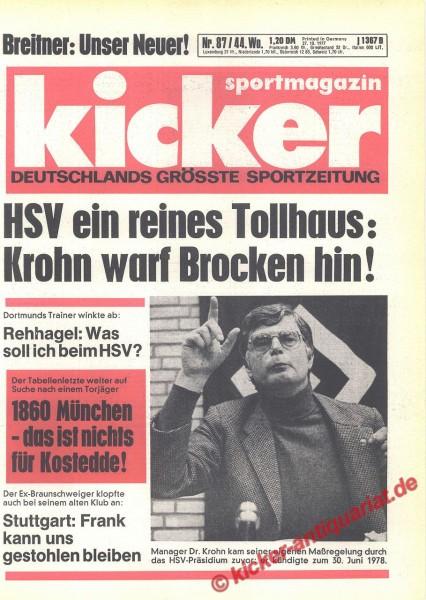 Kicker Sportmagazin Nr. 87, 27.10.1977 bis 2.11.1977