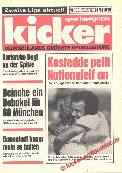 Kicker Sportmagazin Nr. 71, 29.8.1974 bis 4.9.1974