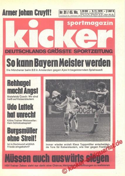 Kicker Sportmagazin Nr. 91, 9.11.1978 bis 15.11.1978