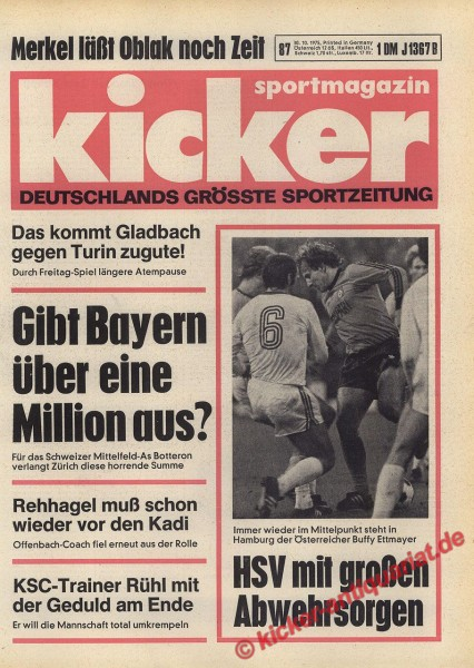 Kicker Sportmagazin Nr. 87, 30.10.1975 bis 5.11.1975