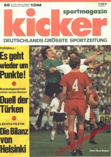 Kicker Sportmagazin Nr. 66, 16.8.1971 bis 22.8.1971