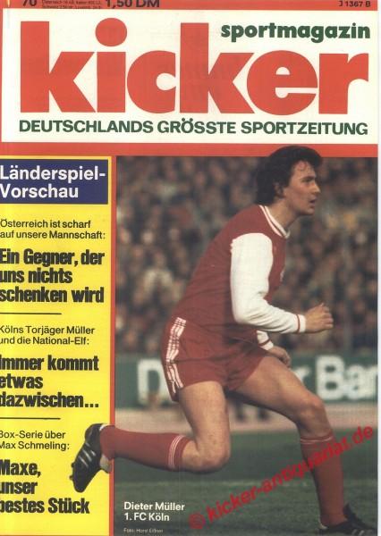 Kicker Sportmagazin Nr. 70, 1.9.1975 bis 7.9.1975