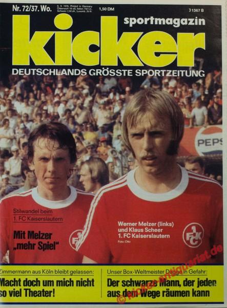 Kicker Sportmagazin Nr. 72, 6.9.1976 bis 12.9.1976