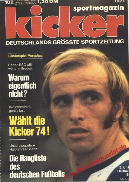 Kicker Sportmagazin Nr. 102, 16.12.1974 bis 22.12.1974