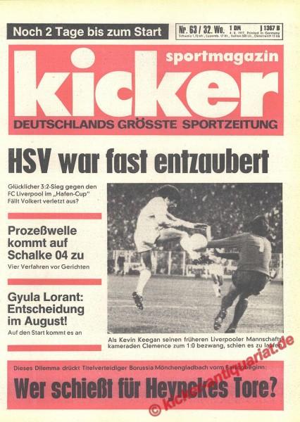 Kicker Sportmagazin Nr. 63, 4.8.1977 bis 10.8.1977