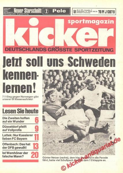 Kicker Sportmagazin Nr. 51, 24.6.1971 bis 30.6.1971