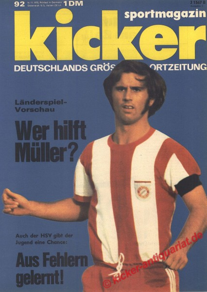 Kicker Sportmagazin Nr. 92, 16.11.1970 bis 22.11.1970