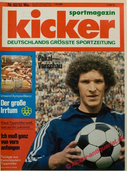 Kicker Sportmagazin Nr. 62, 2.8.1976 bis 8.8.1976