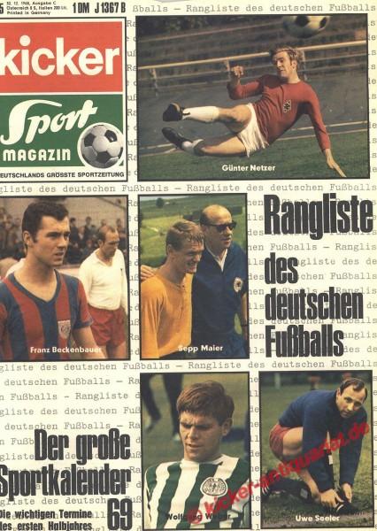 Kicker Sportmagazin Nr. 105, 30.12.1968 bis 5.1.1969