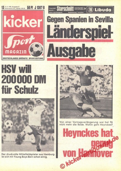 Kicker Sportmagazin Nr. 13, 12.2.1970 bis 18.2.1970