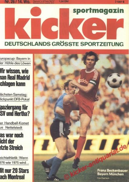 Kicker Sportmagazin Nr. 26, 29.3.1976 bis 4.4.1976