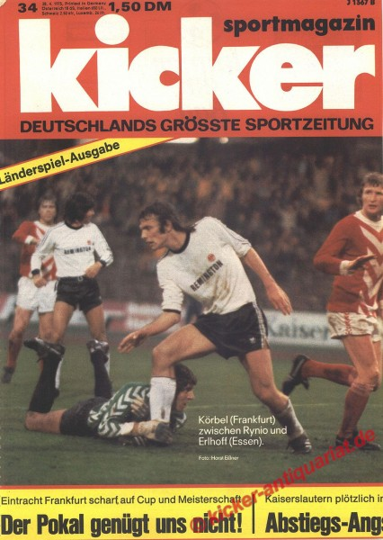 Kicker Sportmagazin Nr. 34, 28.4.1975 bis 4.5.1975