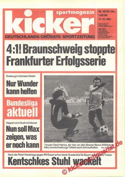 Kicker Sportmagazin Nr. 101, 17.12.1981 bis 23.12.1981